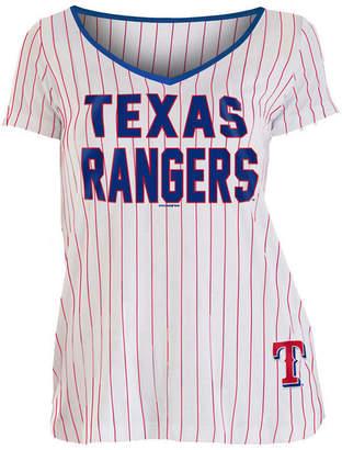 5th & Ocean Women Texas Rangers Pinstripe V-Neck T-Shirt