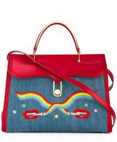Olympia Le-Tan smoking lips embroidered 'Marguerite' tote - women - Cotton/Calf Leather - One Size