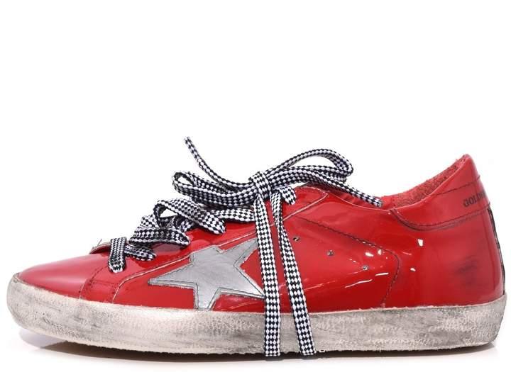 Golden Goose Superstar Sneakers in Red Decollete/Silver Star