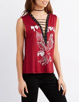 Charlotte Russe Rock 'N' Roll Graphic Lace-Up Tee