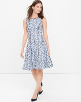 White House Black Market Sleeveless Printed Fit-and-Flare Dress