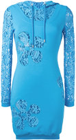 Moschino lace panel hoodie dress - women - Cotton/Polyamide/Rayon/Other fibres - 40