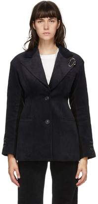 ANDERSSON BELL Navy and Black Corduroy Brooch Smith Blazer