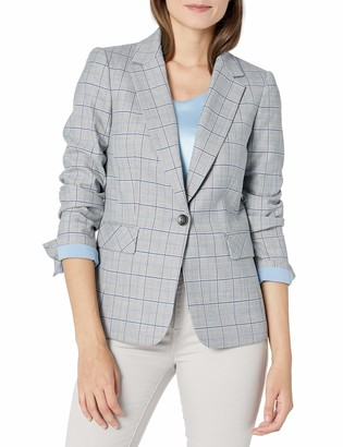 Tahari ASL Women's One Button Flap Pocket Plaid Jacket
