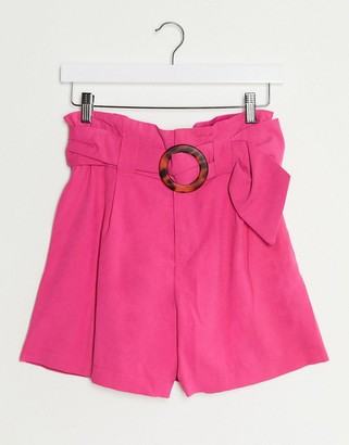 Stradivarius short with belt in pink