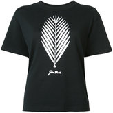 Julien David leaf print T-shirt - women - Cotton - M