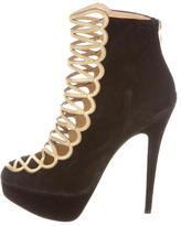Charlotte Olympia Metallic & Suede Round-Toe Ankle Boots