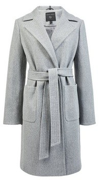 Dorothy Perkins Womens Grey Patch Pocket Wrap Coat, Grey