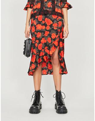 The Kooples Floral-print high-waist crepe midi skirt