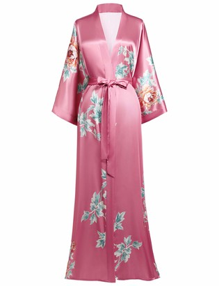 Coucoland Women's Long Kimono Dressing Gown Satin Floral Kimono Robe Long Chinese Japanese Style for Nightwear Girl's Bonding Party Wedding Pajama Party (Pink)