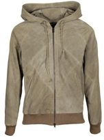 Dacute Leather Hooded Jacket