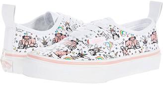 Vans Kids Authentic Elastic Lace (Little Kid) ((Puppicorns) True White/Flamingo Pink) Girl's Shoes
