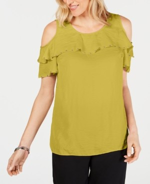 JM Collection Petite Studded Ruffle Cold-Shoulder Top, Created for Macy's