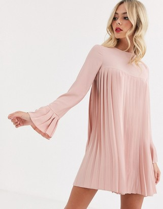 ASOS DESIGN pleated trapeze mini dress with long sleeves in blush