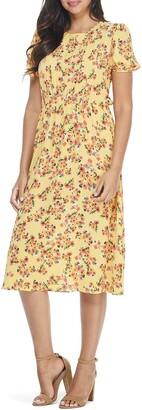 London Times Puff Sleeve Patterned Midi Dress