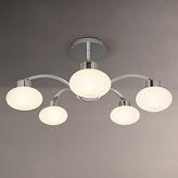 John Lewis Roma 5 Light Semi-Flush Ceiling Light, Chrome/White