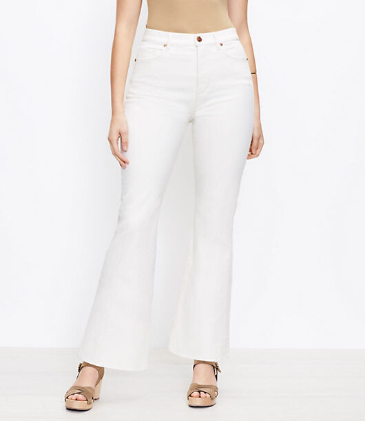 LOFT High Rise Sandal Flare Jeans in Natural White