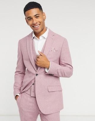 Topman slim-fit wool suit jacket in pink