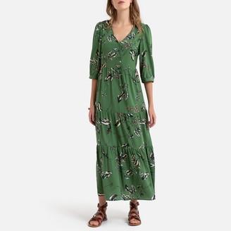 Vero Moda Floral Print Maxi Dress with 3/4 Length Sleeves