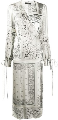 Amiri Paisley Print Wrap Dress
