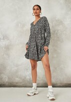 Missguided Black Dalmatian Button Down Long Sleeve Smock Dress