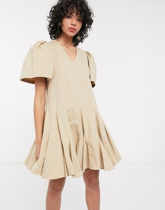 Simonett Amika pleated puff sleeve mini dress in beige