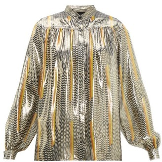 Giambattista Valli Geometric-print Silk-blend Blouse - Womens - Black Gold
