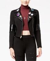 DreamWorks Trolls Juniors' Faux-Leather-Trim Moto Jacket with Pins