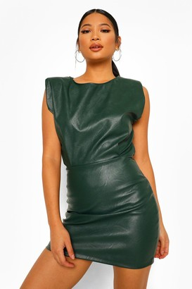 boohoo Petite PU Shoulder Pad Bodycon Dress