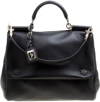 Dolce & Gabbana Black Soft Leather Large Sicily Top Handle Bag