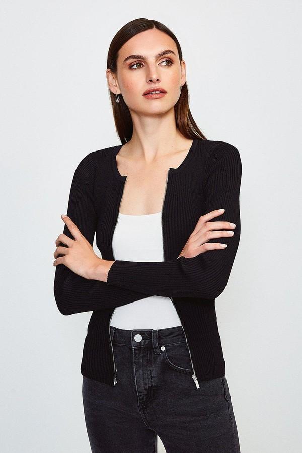 Karen Millen Knitted Rib Zip Though Cardigan