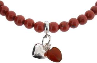 """Earth Red Carnelian Heart and Sterling Silver Heart on Red Jasper Beaded 18"""" Necklace - from the Collection"""