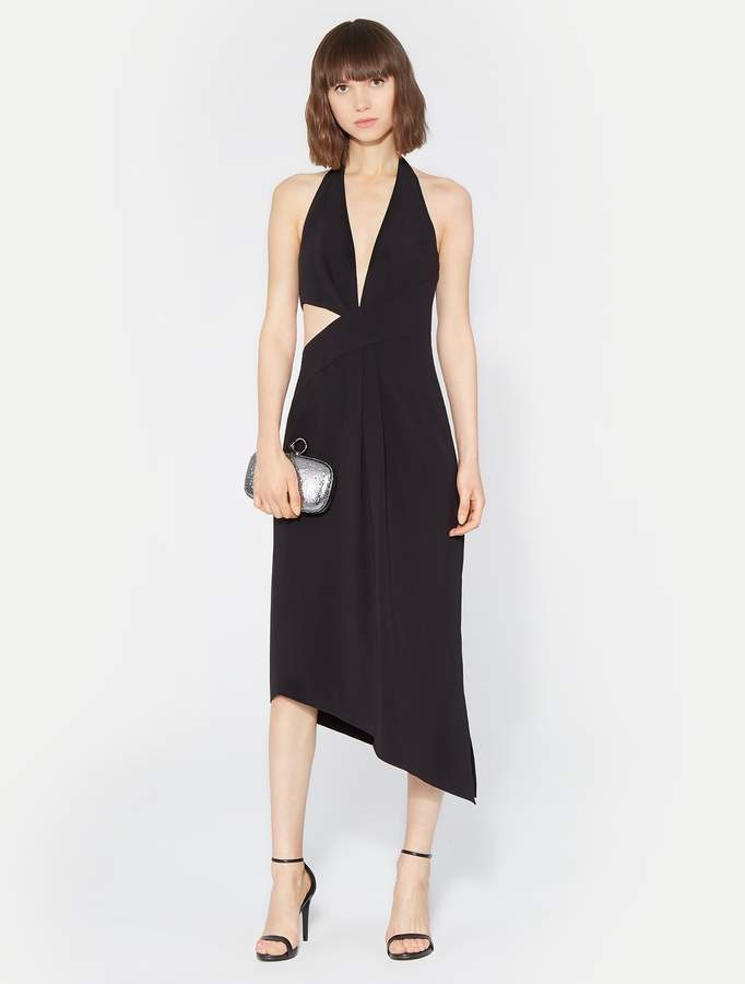 Halston Halter Asymmetric Drape Dress