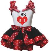 Petitebella I Am 1 Year Old Heart Shirt White Dots Black Petal Skirt Nb-8y