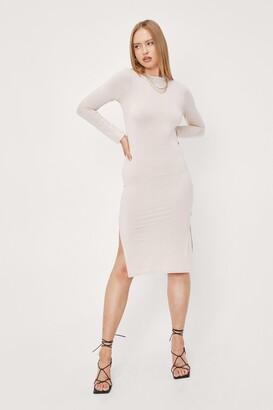 Nasty Gal Womens Slinky Split Hem Fitted Midi Dress - Beige - 14