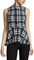 BY AND BY by&by Sleeveless Plaid Knit Peplum Top with Necklace - Juniors