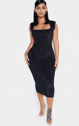 PrettyLittleThing Shape Black Striped Velvet Square Neck Midi Dress