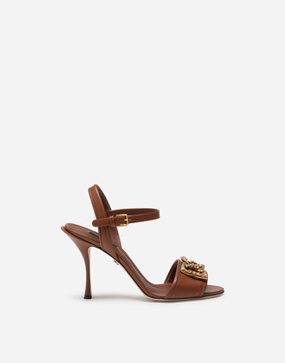 Dolce & Gabbana Calfskin Sandals With Amore Logo