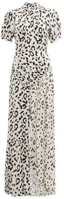 Self-Portrait Self Portrait Open Back Leopard Print Crepe Maxi Dress - Womens - Black White