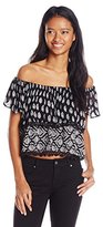 Angie Juniors' Black Cropped Ruffle Top