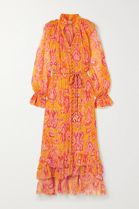 Zimmermann Brightside Belted Ruffled Printed Silk-crepon Midi Dress
