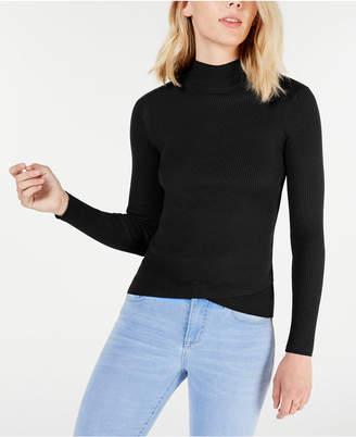 Say What Juniors' Mock-Turtleneck Tulip-Hem Sweater