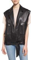 Helmut Lang Oversized Leather Snap-Front Vest, Black