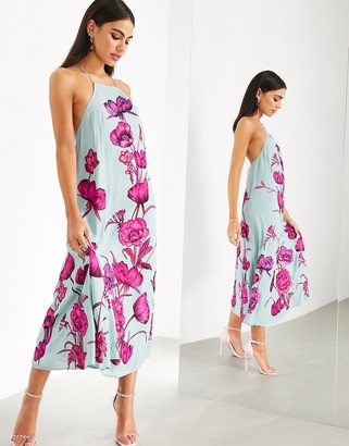 ASOS EDITION maxi trapeze dress with oversized floral embroidery