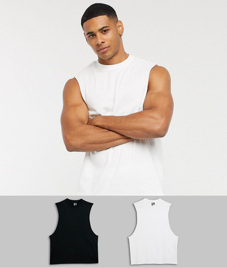 Asos Design DESIGN 2 pack organic relaxed sleeveless t-shirt with dropped armhole save