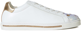 Rene Caovilla Rene' Caovilla Xtra My Love Metallic-trimmed Crystal-embellished Leather Sneakers