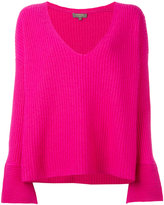 N.Peal wide sleeve deep v sweater