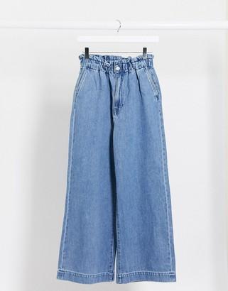 Monki Lizette organic cotton paperbag waist wide leg jeans in la lune