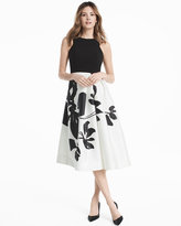 White House Black Market Exploded Floral Printed Midi Fit and Flare Dress