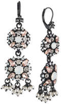 Marchesa Black-Tone Multi-Stone & Shaky Imitation Pearl Double Drop Earrings